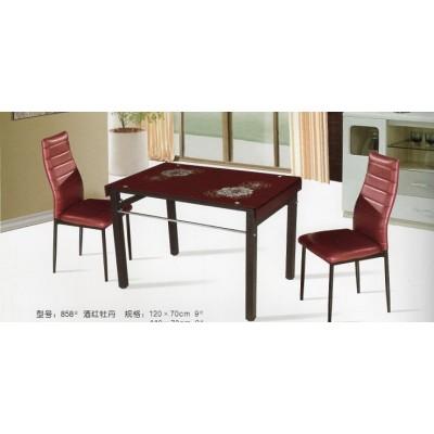 玻璃餐桌 酒红牡丹