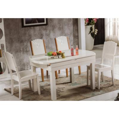 实木餐桌  拉台 方腿 白色
