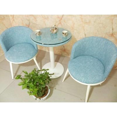 围椅  蓝色麻布
