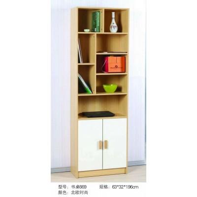 简美丽家板式实木落地书架置物架客厅美式书架多层小书柜原木书架