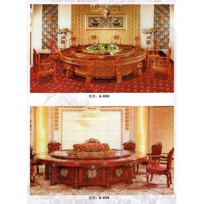 实木仿古酒店餐桌带玻璃转盘新中式雕花饭店家用大圆桌餐桌椅组合