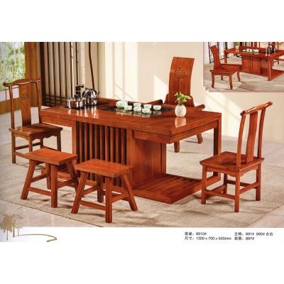 中式仿古茶桌椅组合特价实木喝茶茶几榆木茶室茶艺泡茶桌功夫茶台