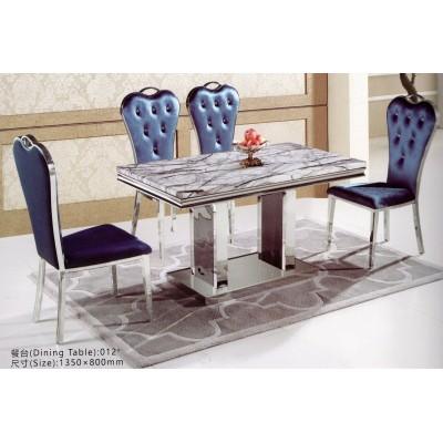 不锈钢餐桌大理石餐桌椅组合时尚简约金属小户型饭桌新古典后现代