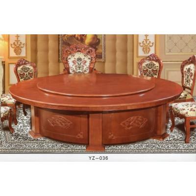 豪华电动餐桌酒店大圆桌自动遥控餐桌酒店餐桌实木电动桌餐椅