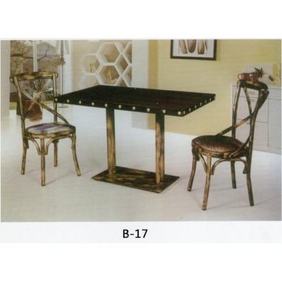 铁艺个性咖啡厅桌椅 工业风主题西餐厅桌椅组合复古怀旧清吧桌椅