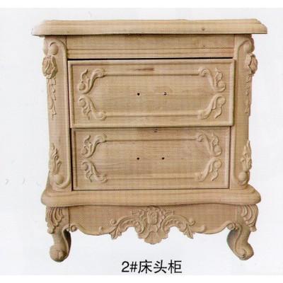 卧室橡胶木雕花白坯实木欧式床头柜床边柜 白胚储物柜