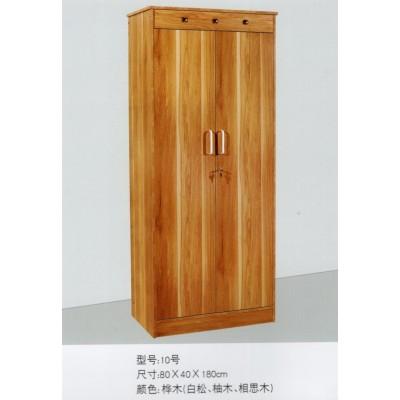北欧两门置物架加粗原木纹成人双人门拉手木衣柜