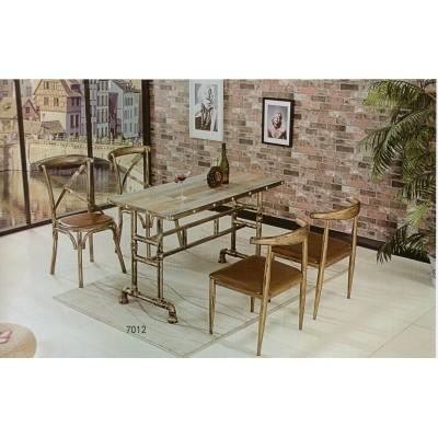 仿实木铁艺牛角椅子奶茶甜品店桌椅简约咖啡厅西餐厅复古主题餐椅