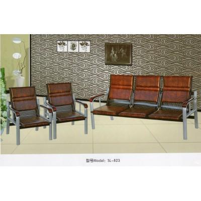 简约现代办公沙发茶几组合五金铁架易拆装三人位商务沙发