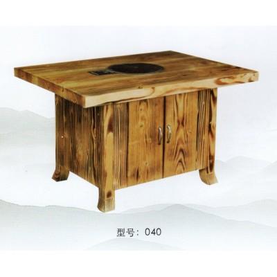 实木火锅桌子无烟电磁炉一体桌椅组合 饭店餐厅沙发卡座家具
