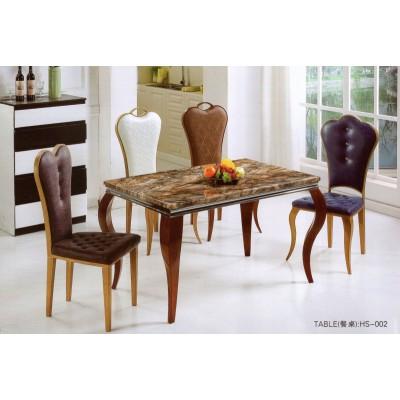 现代简约中式长方形棕色大理石实木餐桌小户型家用大理石餐桌椅