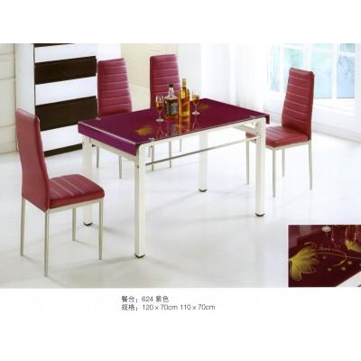 餐桌椅组合6人简约现代长方形钢化玻璃餐桌快餐饭桌成套餐桌椅