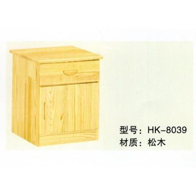 松木床头床边田园储物柜实木家具卧室柜小柜子收纳