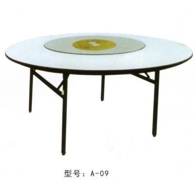 可折叠铁艺白色酒店圆桌宴会大圆桌饭店餐厅包厢圆台餐厅餐桌