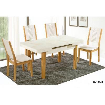 大理石西餐桌椅组合简约现代长方形白色小户型实木家用桌子