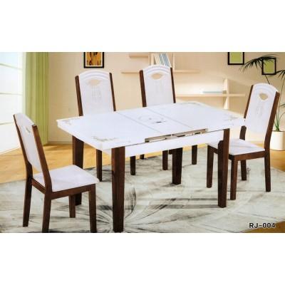 钢化玻璃可伸缩餐桌椅组合白色折叠烤漆实木现代简约餐桌客厅饭桌