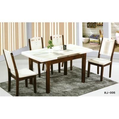 大理石西餐桌椅组合简约现代长方形白色小户型4人实木家用桌子