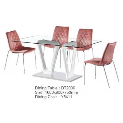 北欧轻奢玻璃餐桌现代简约小户型经济型家用长方形4人饭桌