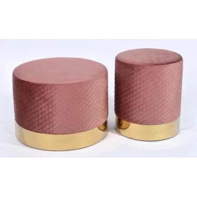 轻奢后现代圆凳设计师北欧网红绒布矮凳简约梳妆凳子客厅皮小凳子
