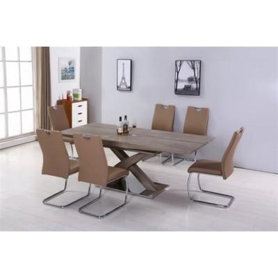 现代时尚简约餐桌餐椅组合不锈钢五金脚架餐厅系列套装