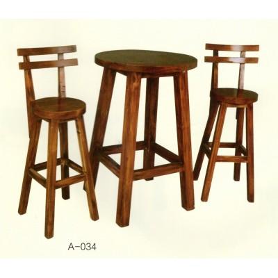 碳化酒吧桌椅实木防腐木户外咖啡厅高脚吧凳仿古庭院阳台桌椅