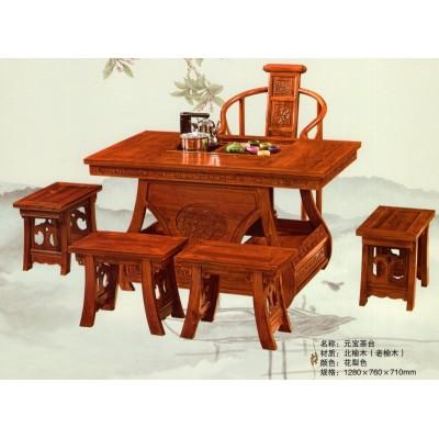 茶桌实木仿古家具功夫茶桌将军台特价榆木茶几茶台功夫茶桌椅组合