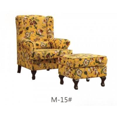 美式乡村老虎椅布艺田园碎花单人沙发客厅书房卧室高背椅休闲椅子