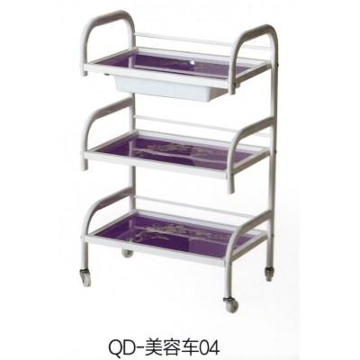 高档新款紫色蓝色院专用小钢化玻璃三层带抽屉美容美发工具手推车