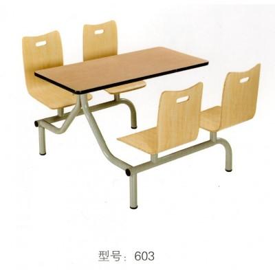 快餐桌椅四人位不锈钢连体餐桌椅汉堡饭店餐桌组合华宇家具