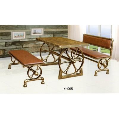 铁艺双人车轮桌椅室外做旧庭院餐桌椅仿古桌餐厅酒吧鑫兴家具