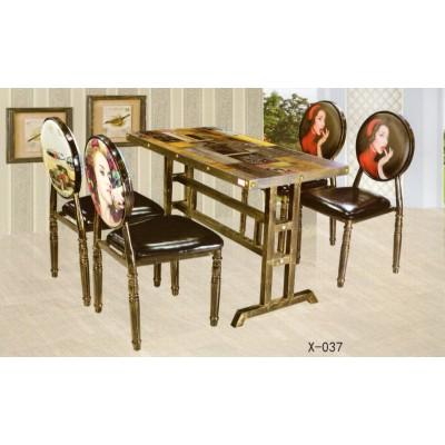仿实木铁艺牛角椅子欧式靠背餐椅咖啡厅西餐厅餐桌椅组合鑫兴家具