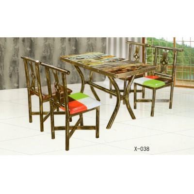 仿实木铁艺牛角咖啡厅复古西餐厅火锅店桌椅组合鑫兴家具