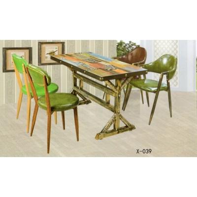 复古实木咖啡厅桌椅西餐厅奶茶店餐台桌椅鑫兴家具