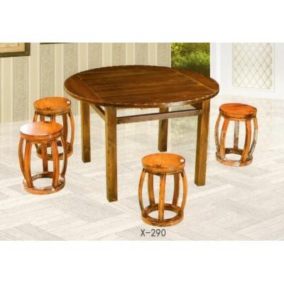 鸡翅木实木餐桌椅组合 客厅中式休闲圆桌小户型圆形饭桌鑫兴家具