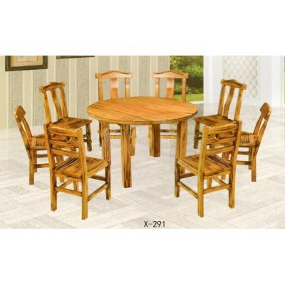 实木碳化餐桌椅组合 餐厅饭店面馆家用防腐长方桌鑫兴家具