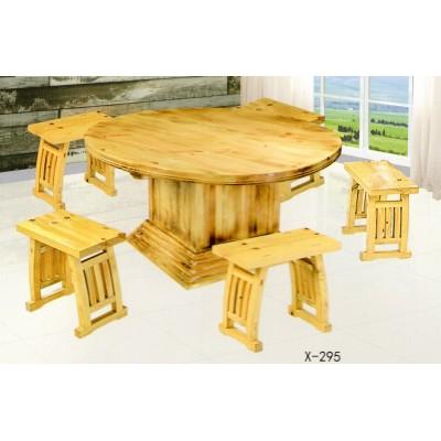 饭店桌椅组合椅包箱大圆桌大排档松木炭烧实木火锅桌鑫兴家具