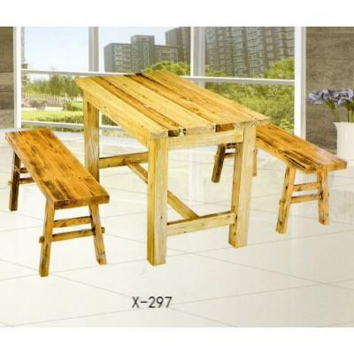 实木餐桌凳组合中餐厅饭馆桌凳长方餐桌方凳合鑫兴家具