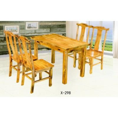 火烧木碳化防腐实木餐桌椅组合餐馆实木桌椅组合鑫兴家具
