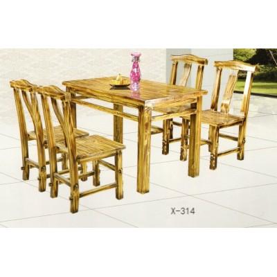 复古炭火烧餐桌椅组合饭店小吃火锅桌椅圆桌椅实木餐桌椅鑫兴家具