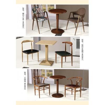 简约欧式咖啡厅桌椅休闲洽谈会客桌小圆餐桌现代铁艺接待桌椅组合