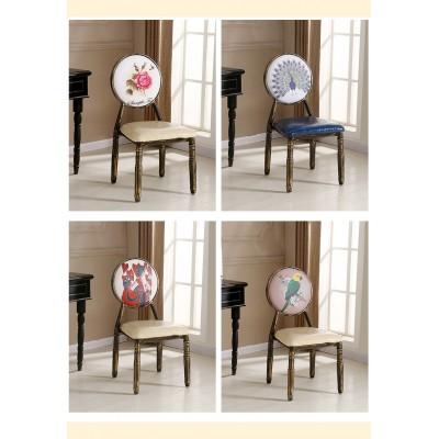 欧式餐椅复古美甲椅子铁艺个性椅子做旧定制主题酒店餐桌椅化妆椅