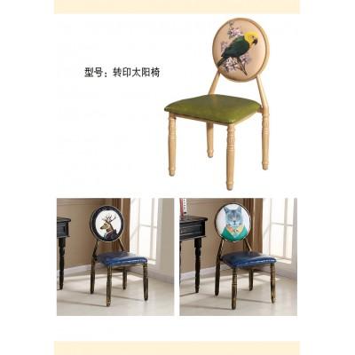 欧式做旧餐椅做旧酒店椅复古椅休闲咖啡厅椅美甲椅子美式酒店椅