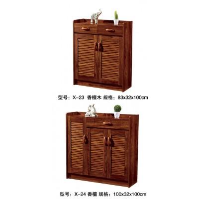 中式木质鞋柜简约现代实木色超薄组装门厅柜对开门玄关柜门口鞋橱