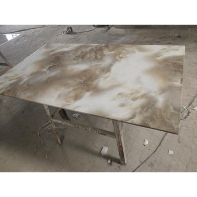 金属漆大理石餐桌椅组合现代简约实木餐台餐厅长方形饭桌永晟理石