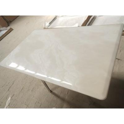 不锈钢方形茶几欧式 大理石边几方桌创意金属沙发边桌永晟理石