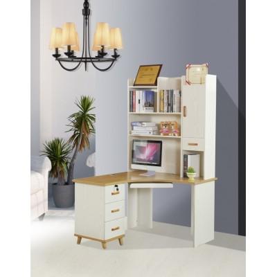 百搭北欧简约电脑桌带书架台式家用书柜白色直写字学习桌