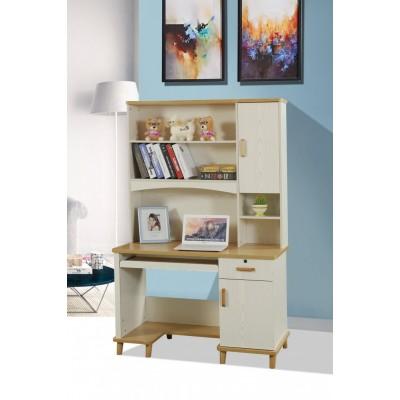 台式电脑桌带书桌地中海风格家用书柜书架一体转角组合学生学习桌