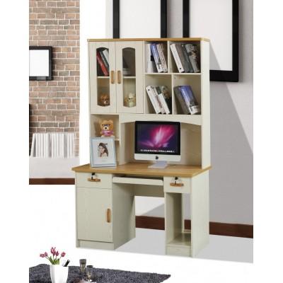烤漆台式电脑桌北欧风格白色写字桌带书架书柜现代简约学习桌