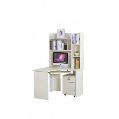 简约书桌书架组合家用电脑桌书柜书桌一体实木卧室白色学生写字桌