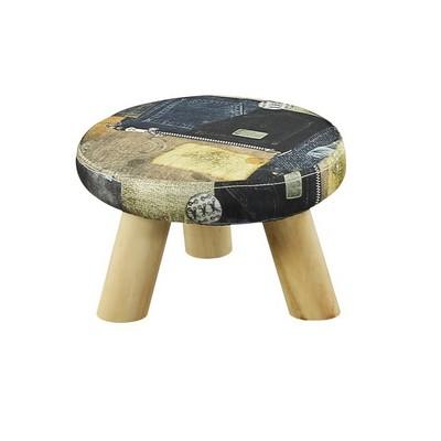 实木小凳子时尚沙发凳 创意布艺板凳家用矮凳成人圆凳换鞋凳客厅